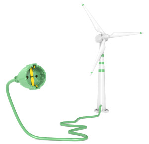 A Single Wind Turbine connected to a Power Cable. White Background.