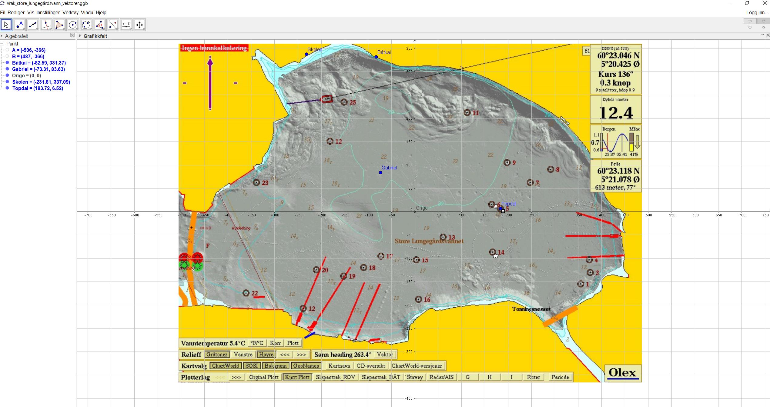 Skjermbilde av kart i Geogebra med de ulike vrakene markert.