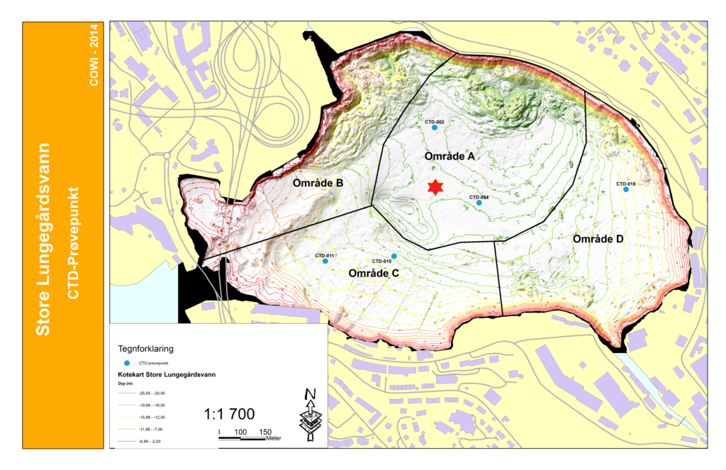 Kart som viser batymetri (dybde) i Store Lungegårdsvann i Bergen og plasseringen av målestasjonen Gabriel (rød stjerne). Figur: Bergen Kommune.