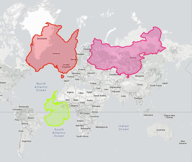 Vanlige verenskart lurer oss når det gjelder størrelse på landene i forhold til hverandre fordi man må strekke kartet når man prosjekterer en kule på en firkantet flate. Eksempel fra www.truesize.com