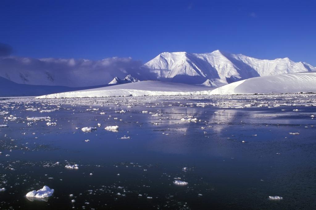 Panoramic view on Antarctica coastline mountains