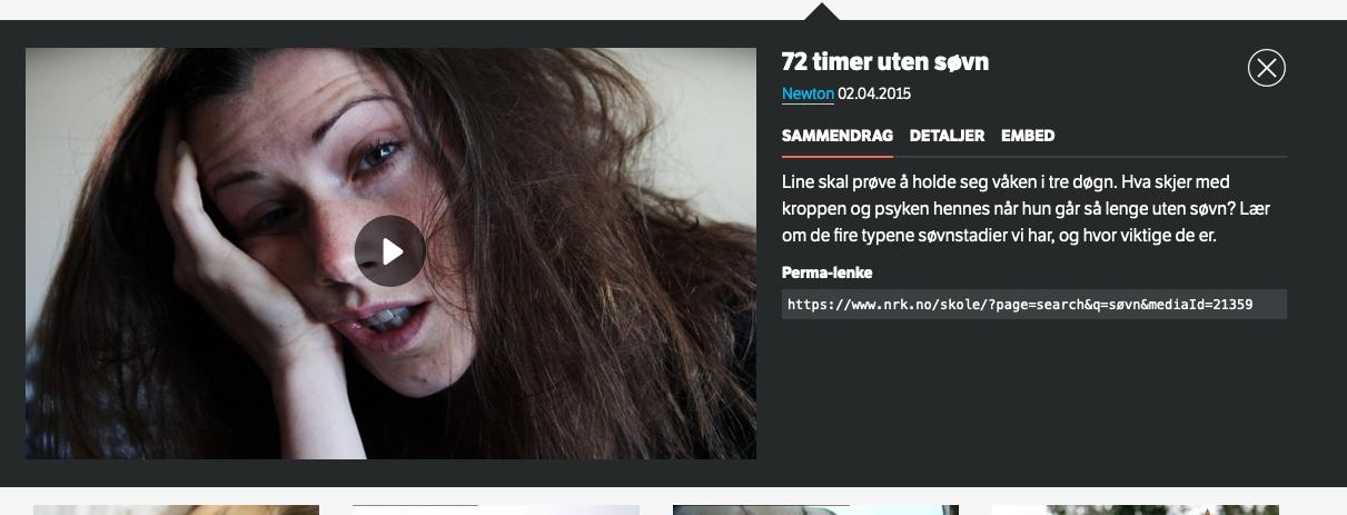 bilde og vignett fra film om søvnmangel på nrk skole